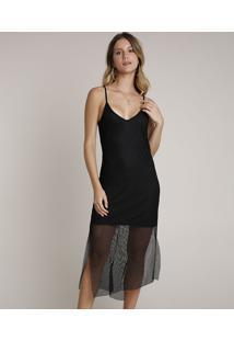 Vestido Feminino Midi Em Tela Com Fenda Alças Finas