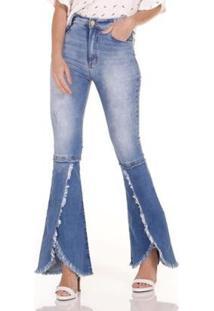 Calça Jeans Areazul Flare Feminina - Feminino