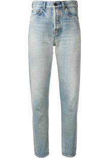 Saint Laurent Calça Jeans Reta - Azul