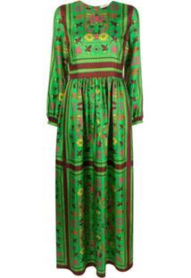 Tory Burch Vestido Longo De Seda Com Estampa De Lenço - Verde