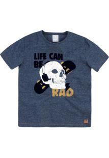 "Camiseta ""Life Can Be Rad""- Azul Marinho & Brancahering"