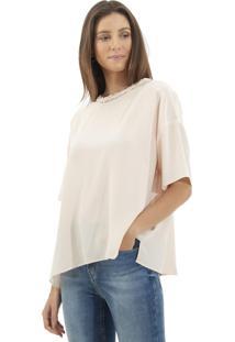 Camiseta Le Lis Blanc Ampla Juli Seda Rosa Femininana (Blush, 48)