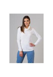 Blusa Feminina Malhas G'Dom Com Gola Avulsa E Frente Com Bolinhas Branco