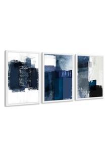 Quadro 60X120Cm Abstrato Textura Margolanak Moldura Branca Com Vidro