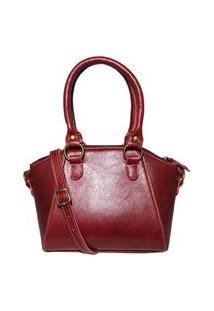 Bolsa Pequena De Couro Argolas - Ref. 453 Bordô