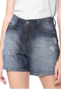 Bermuda Jeans Calvin Klein Jeans Reta Desgastes Azul
