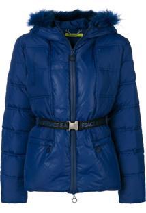 Versace Jeans Couture Jaqueta Matelassê Com Cinto - Azul