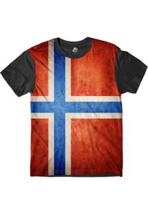 Camiseta Bsc Bandeira Noruega Sublimada - Masculino-Preto