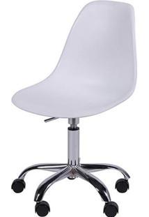 Cadeira Eiffel Plástico Base Giratória Dkr Wood - Branco