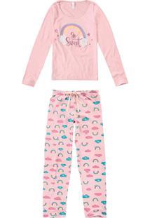 Pijama Longo Estampa Glitter Feminino