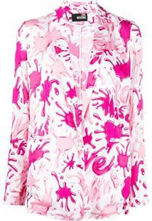 Love Moschino Blazer Abotoamento Simples Com Estampa Abstrata - Rosa