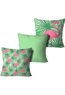Kit 3 Capas Para Almofadas Decorativas Flamingo Top Multicolorido Verde - Kanui