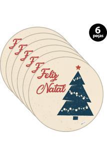 Capa Para Sousplat Mdecore Natal Feliz Natal Bege 6Pçs