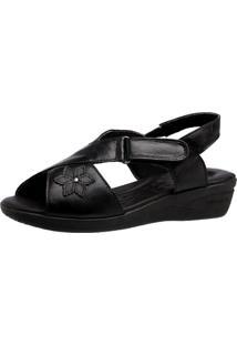 Sandália Anabela Esporáo Doctor Shoes 7998 Preto - Tricae