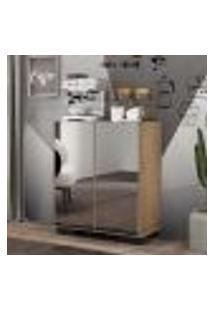 Aparador Cantinho Do Café Com Espelho E Pés Quadrados 2 Portas Multimóveis Rustic/Preto