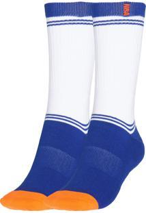 Meia Nba Cano Médio Esporte Listras Branca/Azul