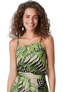 Blusa Bege Tropical Texturizada