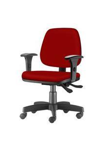 Cadeira Job Com Bracos Assento Courino Vermelho Base Rodizio Metalico Preto - 54599 Vermelho