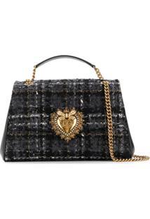 Dolce & Gabbana Bolsa Tiracolo Devotion Grande De Tweed - Cinza
