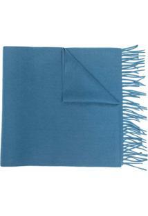 N.Peal Cachecol De Cashmere Com Barra Desfiada - Azul