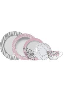 Aparelho De Jantar E Chá Paris Germer Porcelanas, 20 Peças Decorado