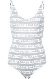Balmain Body Com Logo - Cinza