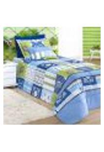 Kit Edredom Solteiro Estampado 4 Peças Azul 2,50M X 1,80M Com Porta Travesseiro E Almofada Decorativa