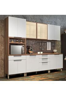 Cozinha Compacta Donna 11 Pt 4 Gv Branca E Nogal