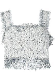 Balmain Blusa De Tweed - Branco