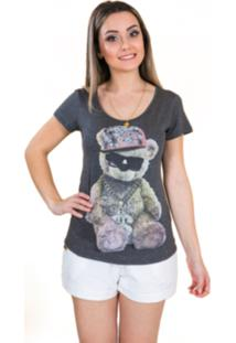 T-Shirt Tok Fashion Estampa Urso Cinza