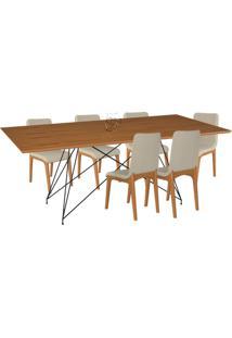 Conjunto Sala De Jantar 6 Cadeiras Mesa 180Cm Carvalho/Champagne Lins Linho Bege - Gran Belo