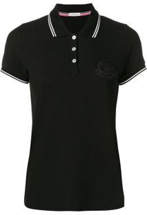 Moncler Camisa Polo Com Logo Em Patch - Preto