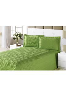 Colcha Clean Queen Verde Com 4 Peças Algodão E Poliester - Aquarela