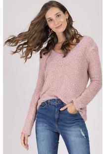 Suéter Feminino Em Tricô Felpudo Decote V Rosê