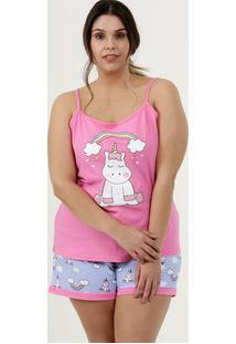 Pijama Feminino Estampa Unicórnio Plus Size Demillus