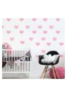 Adesivo De Parede Infantil Coração Rosa Chevron