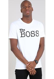 "Camiseta Masculina ""The Boss"" Manga Curta Gola Careca Off White"