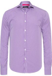 Camisa Masculina Exuto Vichy Elastano - Roxo