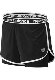 Shorts New Balance 2In1 Relentless   Feminino - Feminino-Preto