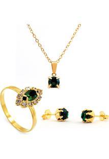 Kit Horus Importgargantilha Verde Esmeralda Pingente Quadrado - Brincos - Anel - Banhado Em Ouro 18K - Kit10546.