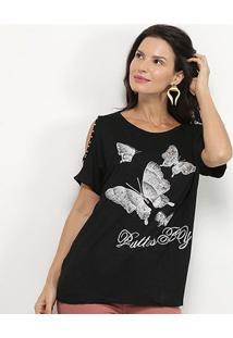 Blusa Pérola Butterfly Feminina - Feminino-Preto