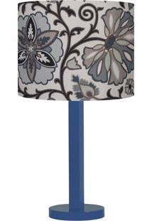 Abajur Tecido Floral Ankara Carambola Cinza/Azul