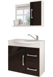 Conjunto De Banheiro Vix Branco E Preto