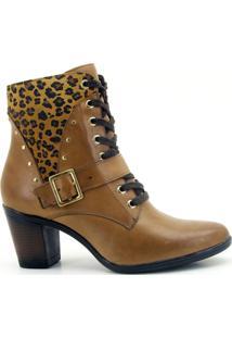 Botinha Atron Shoes 9066 Whisky Com Onca - Feminino-Onça