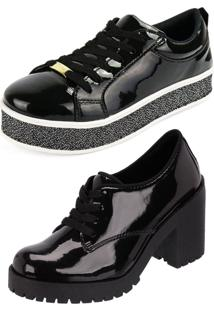 Kit Cr Shoes Tênis Platform Oxford Verniz Preto