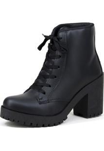 Bota Feminina Magi Shoes Tratorada Fosca Preta