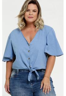 Blusa Feminina Jeans Botão Plus Size Manga Curta Marisa