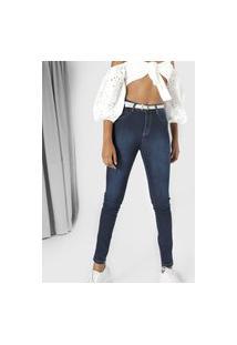 Calça Jeans Sawary Skinny Estonada Azul