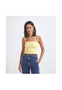 Blusa Super Cropped Alças Com Amarração Em Lastex   Blue Steel   Amarelo   Gg