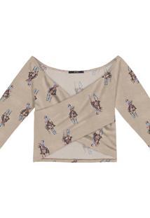 Blusa Cropped Malha Transpassada Polo - Lez A Lez